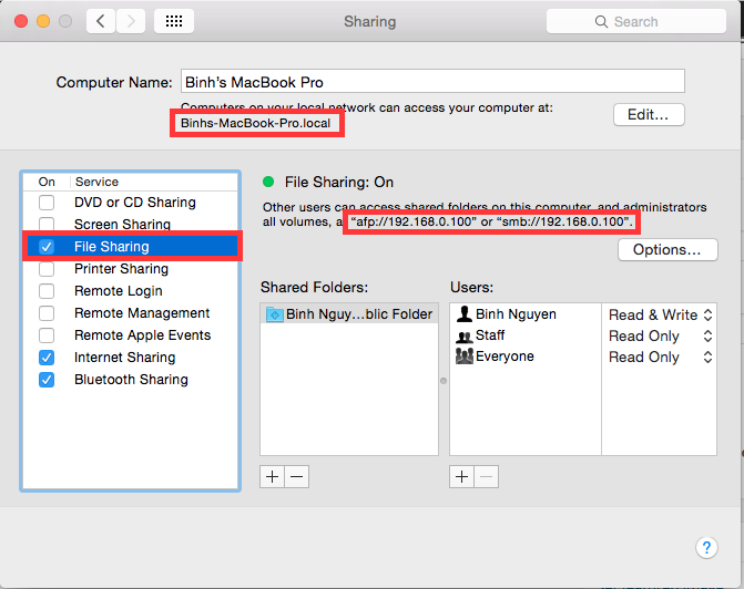 Enable File Sharing on Macbook